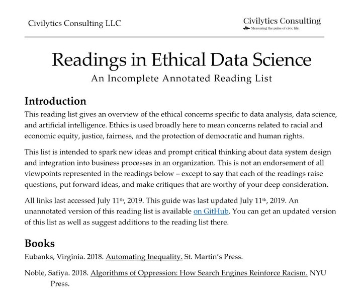 Readings in Ethical Data Science